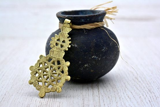 Traditional Ethiopian Coptic Cross Picture in Gold