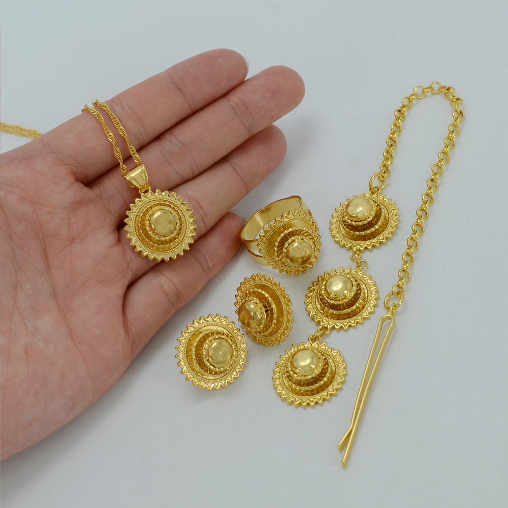 habesha gold plated wedding hair piece fashion set