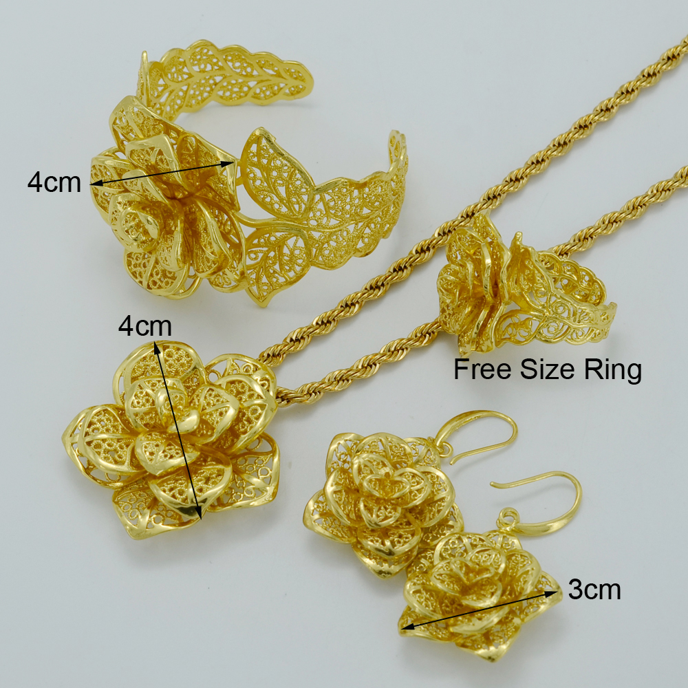 Beautifully Distinctive Habesha Gold Plated Floral Bridal Jewelry Set  sc 1 st  Habesha Jewellery Market : jewelry sets gold plated - pezcame.com