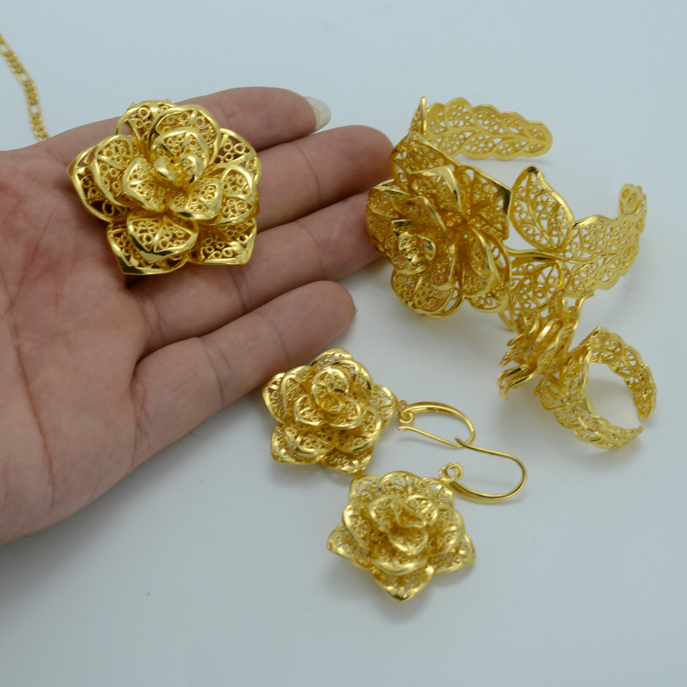 Beautifully Distinctive Habesha Gold Plated Floral Bridal Jewelry