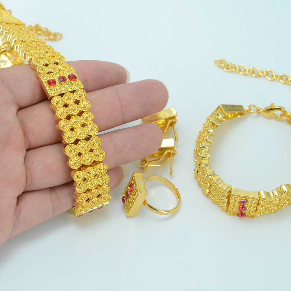 Very Stylish Gold Plated Habesha Jewelry Choker Necklace Earrings